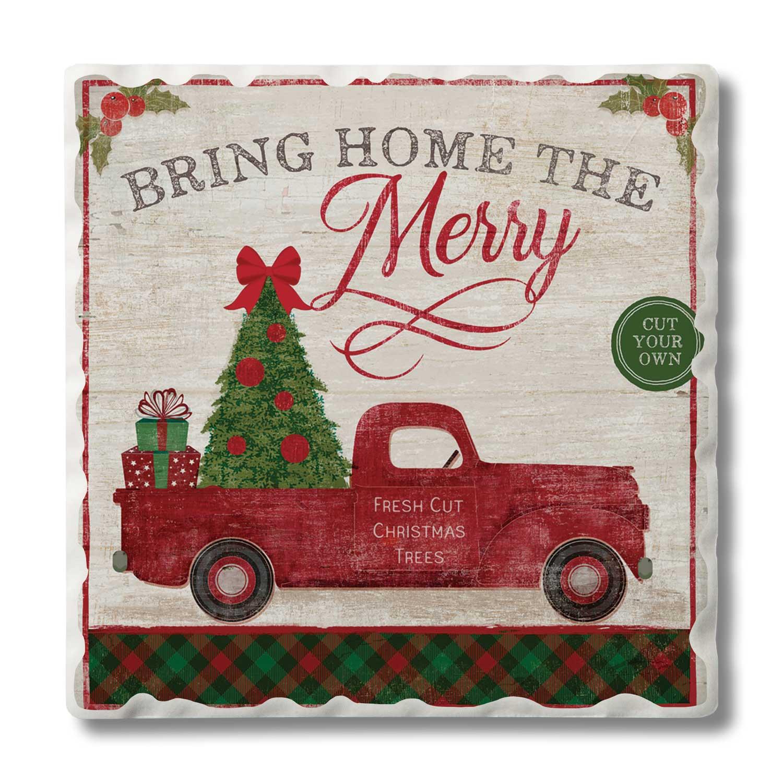 4pk Single Image Coaster Set Christmas Tree Farm Conimar Group