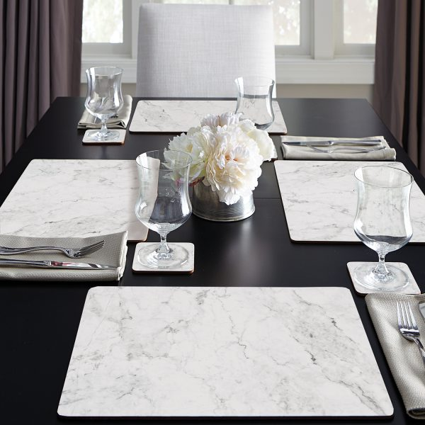Hardboard Placemat Boxed 4pk White Marble