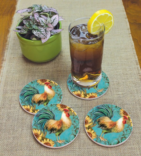 Coaster RD 4PK - Rooster On Teal